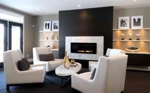 Interior Decorating London Ontario Modern Fireplace Design Ideas Dark Wall White Chairs