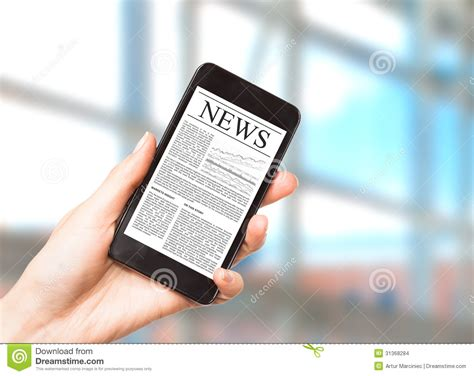 mobile news news on mobile phone smart phone stock photo image