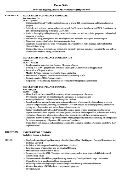 regulatory resume sle cv templates regulatory compliance resume sles velvet