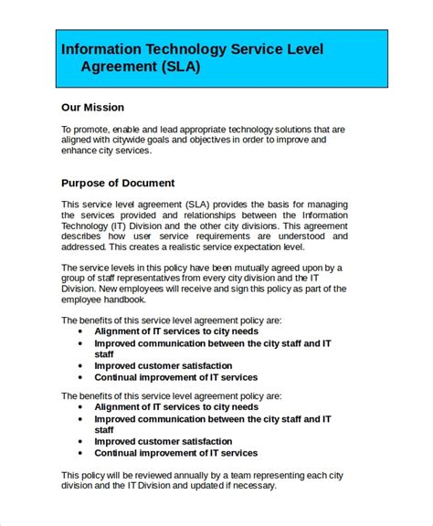 service level agreement    word psd documents   premium templates