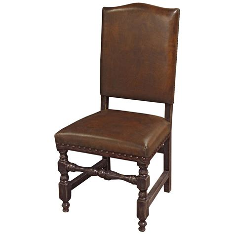 bonington rustic lodge vintage brown leather bobbin dining chair kathy kuo home