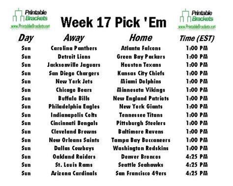 printable nfl schedule week 17 nfl pick em week 17 pro football pick em week 17