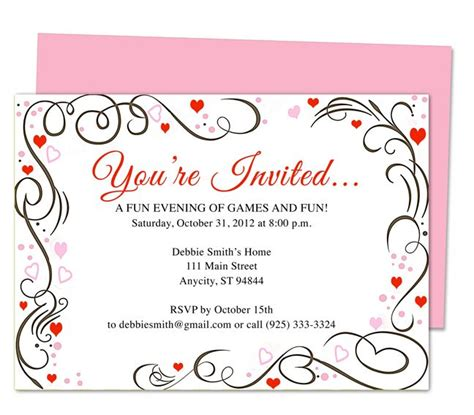 invitation templates for apple pages generic invitations amour any occasion invitation