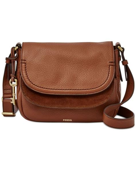 Fossil Peyton Flip Brown L fossil peyton leather flap bag in brown lyst