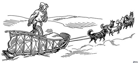 coloring pages of dog sledding dog sledding cartoon clipart best