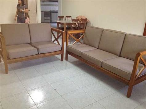 3 2 solid wood sofa set almost new for sale in singapore