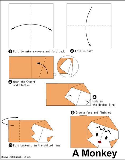 Monkey Origami - monkey easy origami for
