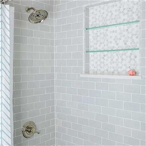 Glass Subway Tile Shower by Tiled Bathroom Niche Transitional Bathroom