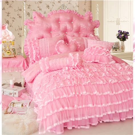 pink full size bed korean princess style cake layers bedding set twin full