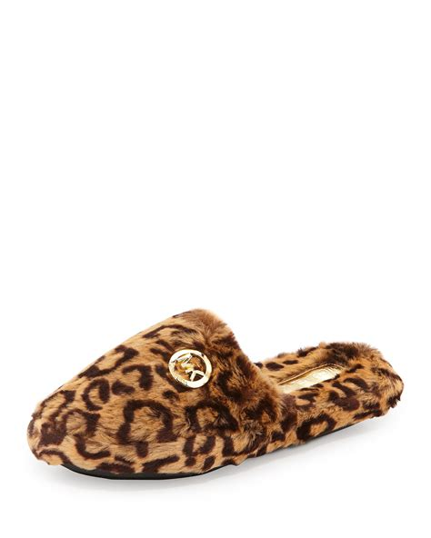 michael kors slippers michael michael kors jet set faux fur slippers lyst