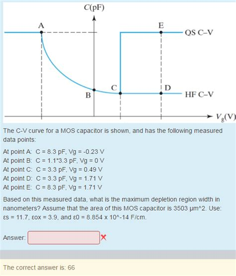 mos capacitor questions the c v curve for a mos capacitor is shown and ha chegg