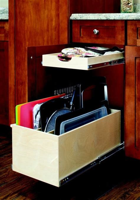 slide out shelf and slide out tray bin contemporary
