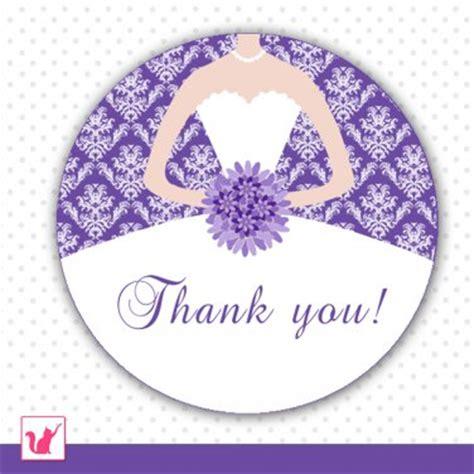 printable bridal shower thank you tags printable personalized damask purple thank you tags