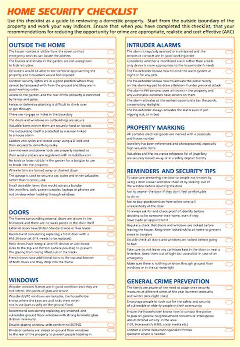 home security checklist tim pickstone