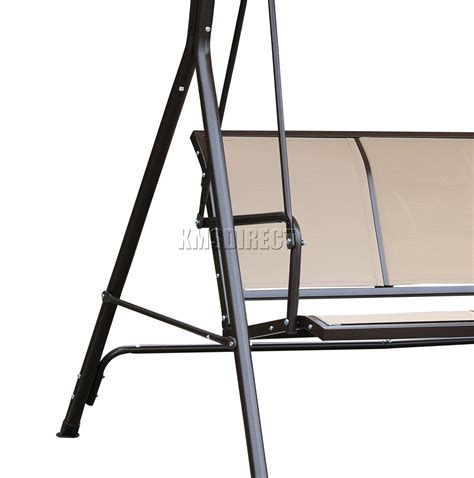 metal bench swing foxhunter beige garden metal swing hammock 3 seater chair