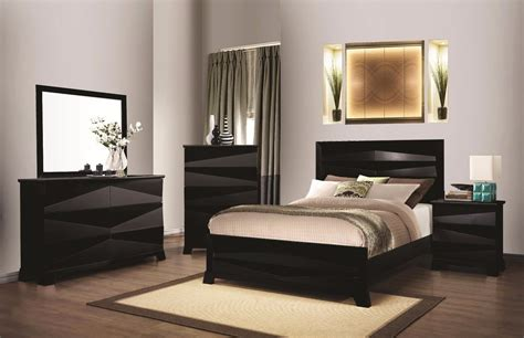 Mirror Bed Set Black Contemporary 4pc Bedroom Set Of Bed Dresser Mirror Nightstand Furniture Ebay