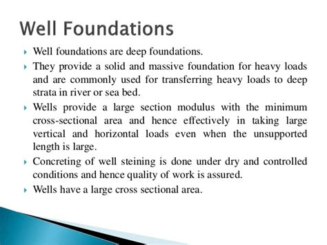 design criteria of well foundation design and construction of well foundations