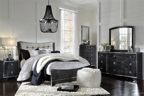 black panel bedroom set amrothi black panel bedroom set b257 57 54 96 ashley