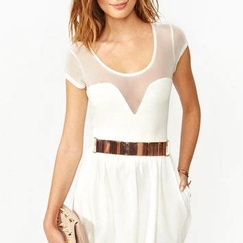 Mesh Mix Skater Dress W8741 White white mesh skater dress from gal dresses