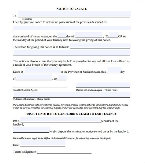 Notice To Vacate Template 9 Download Free Documents In Pdf Template For Notice To Vacate From Landlord