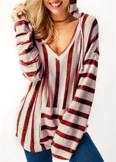 Striped Hooded Sleeve T Shirt pocket sleeve hooded collar striped t shirt rosewe