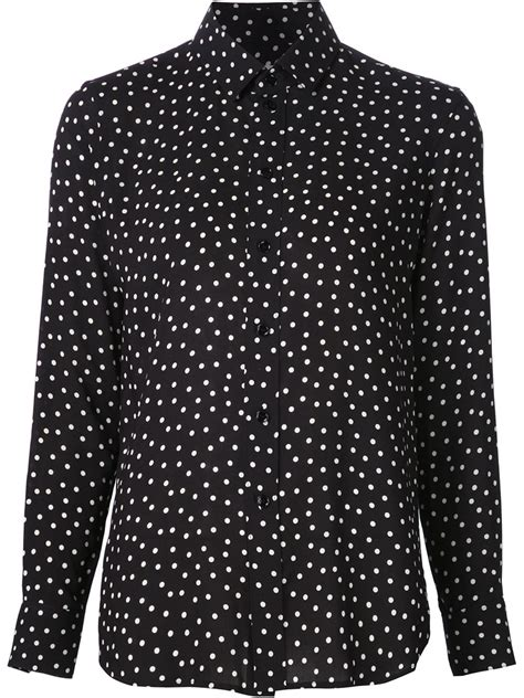 St Polka laurent polka dot dress shirt in black lyst