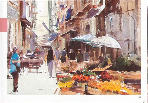 ost and found edges in a busy market scene watercolour