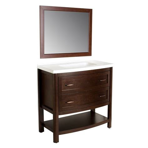 Bathroom Vanity Mirrors Home Depot Home Decorators Collection Prescott 36 In Vanity In Chestnut With Marble Vanity Top In White