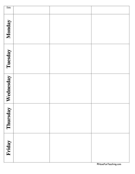 blank preschool weekly lesson plan template lesson templates