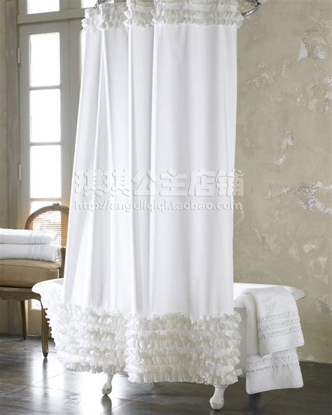 white ruffled shower curtain fashion plain 2013 fresh shower curtain polyster white
