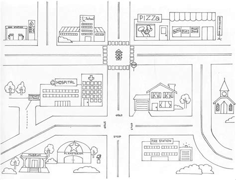 Town Map Coloring Page | neighborhood map coloring page coloring home