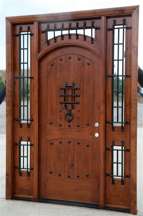 front wood doors rustic doors exterior alder doors arch top door