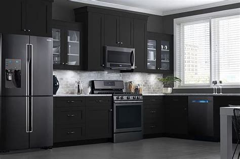 Black Kitchen Cabinets With Stainless Steel Appliances 25 Best Ideas About Black Appliances On Kitchen Black Appliances Painting Cabinets
