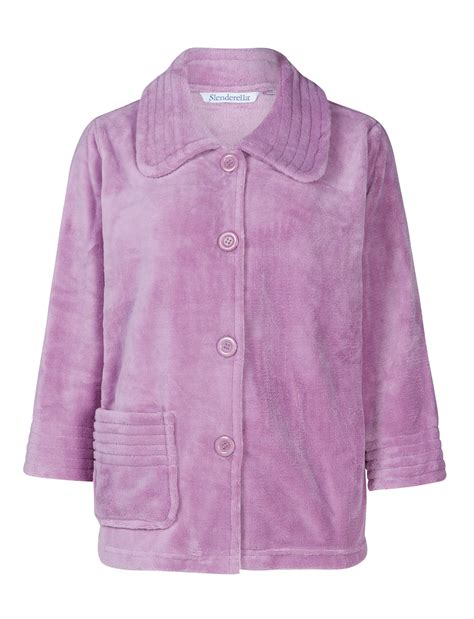 bed jackets bed jacket womens button up soft fleecy ribbed detail