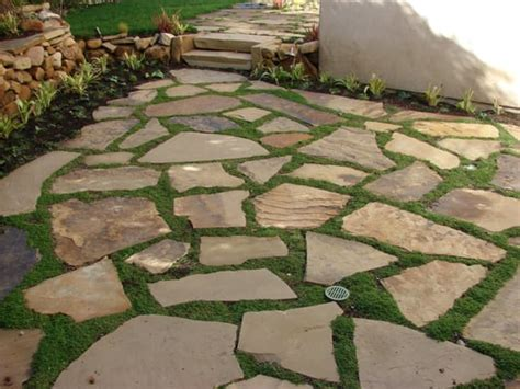 soft set flagstone patio with ground cover yelp