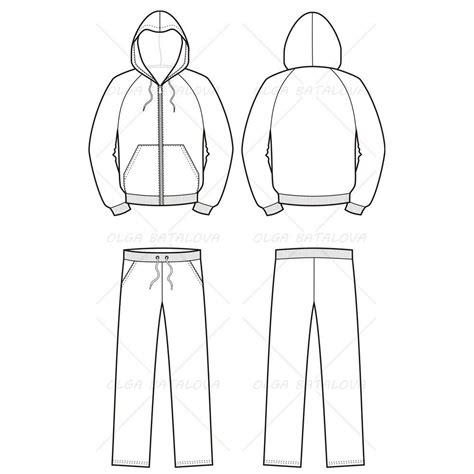 illustrator pattern outline unisex hoodie and track pants fashion flat template