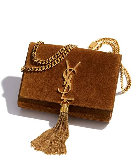 saint laurent monogram small suede tassel crossbody bag