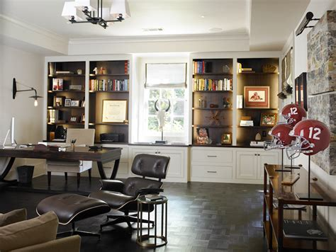 manly home decor leather tiled floor contemporary den library office the design atelier
