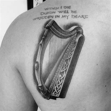 harp tattoo 60 harp designs for musical instrument ink ideas