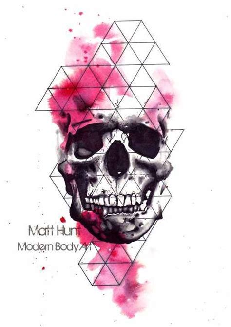 watercolor skull tattoo design geometric skull tattoos skulls and watercolors