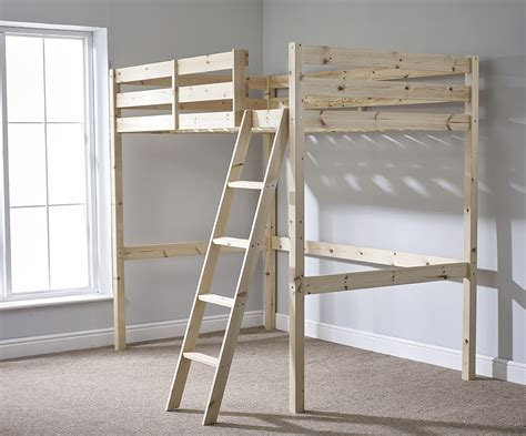 High Bunk Bed Celeste 4ft 6 Heavy Duty Solid Pine High Sleeper Bunk Bed