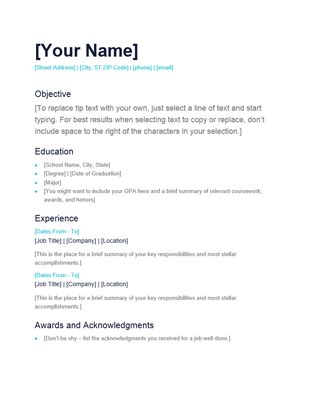 simple resume office templates