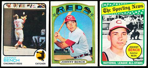 johnny bench cards lot detail johnny bench 5 cards