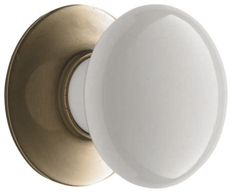 porcelain cabinet knob with brass backplate traditional