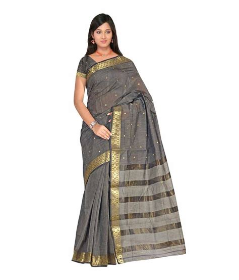 Dewi Blouse Grey T3009 2 devi silk mills gray buti cotton saree with blouse