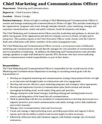 exle of a chief marketing officer description chief marketing officer cover letter sle