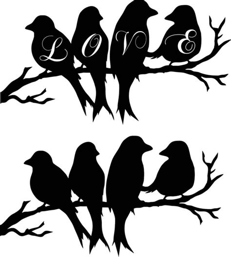 Wall Sticker Birds dxf svg file birds on a branch love birds orginal art instant