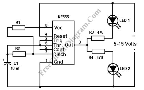 555 integrated circuit used led flasher ne555 circuit diagram world