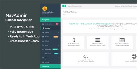 Navamdin Responsive Sidebar Navigation By Excellent Dynamics Codecanyon Free Website Templates With Sidebar Menu