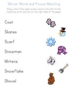 winter word worksheet for kids matching